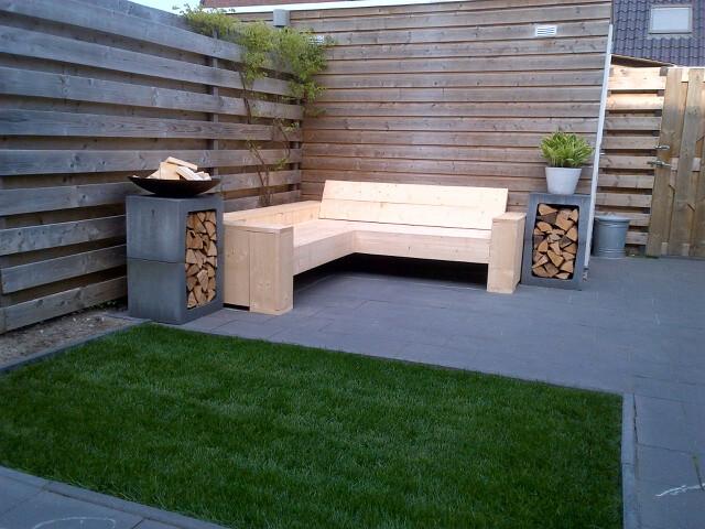 Loungebank en tafel steigerhout