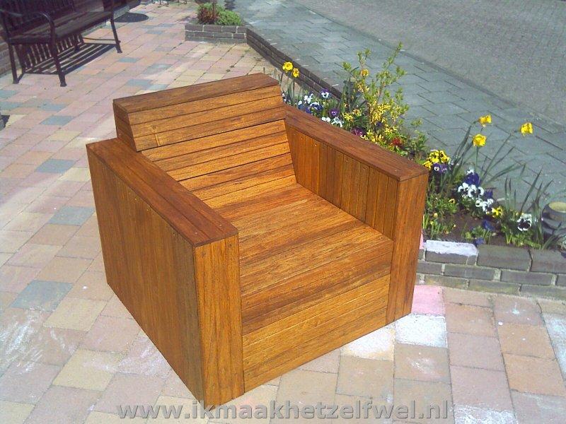 Bouwtekening Loungestoel Hardhout - IkMaakHetZelfWel.nl