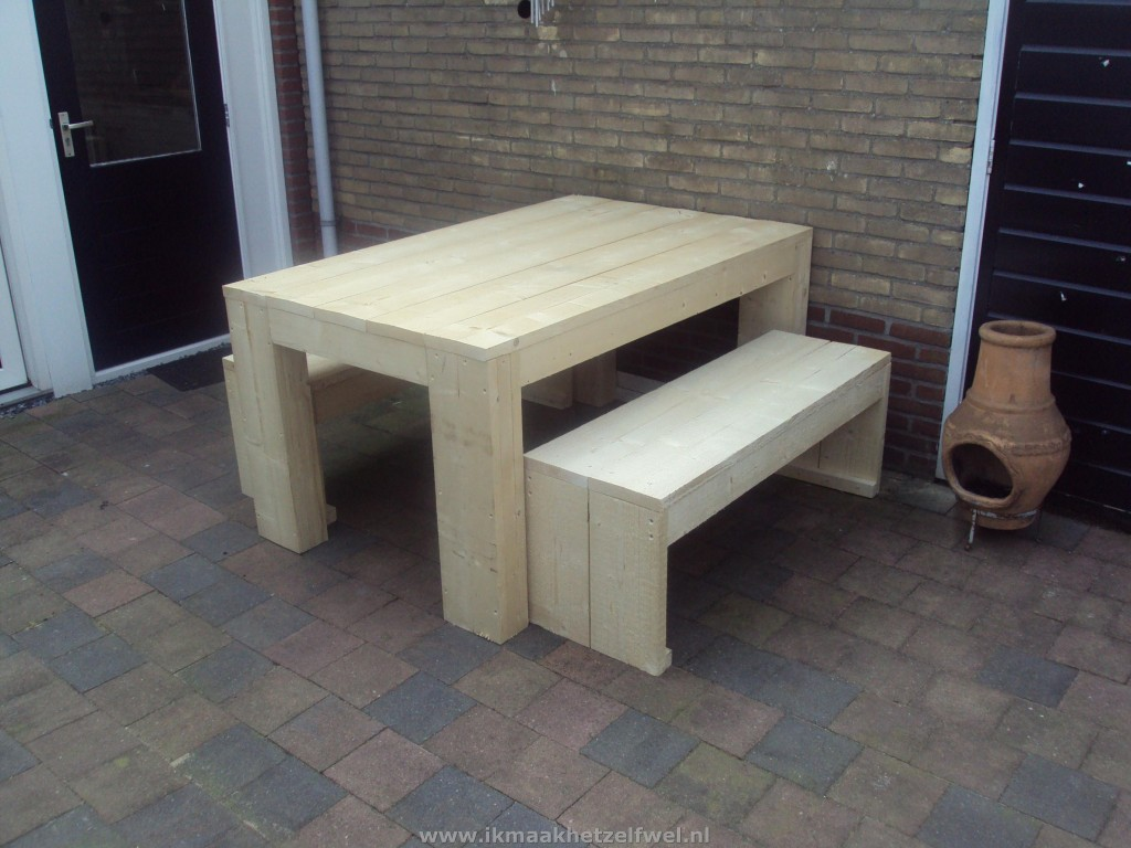 Tafel van steigerhout zelf maken download hier de bouwtekening