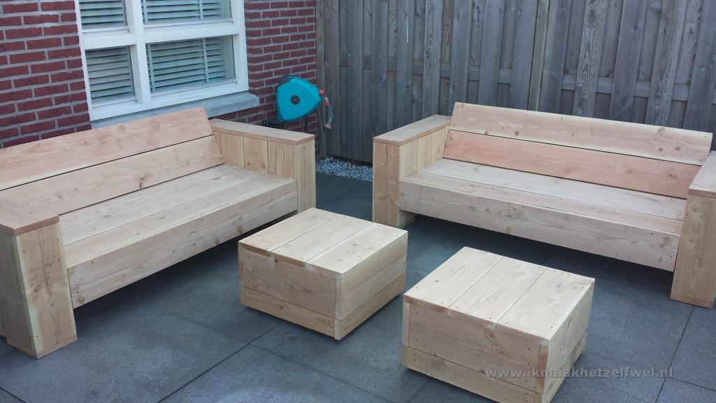Bouwtekening loungebank steigerhout for Zelf meubels maken van hout