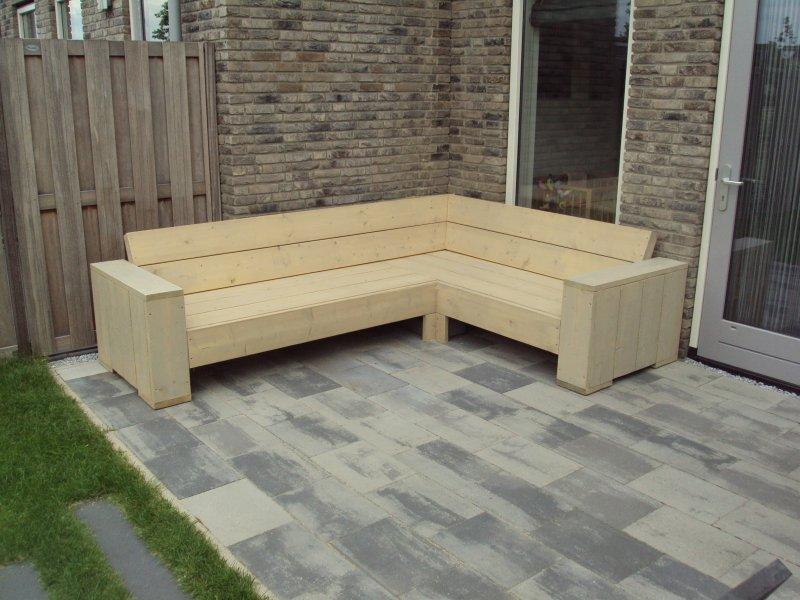 Hoekbank van steigerhout zelf maken for Bed van steigerhout maken